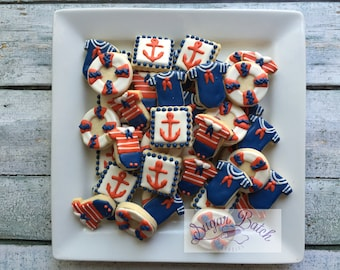 2 Dozen Mini Nautical/Sailor Decorated Cookies Set