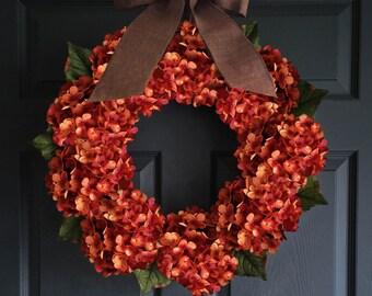 Autumn Orange Hydrangea Wreath | Fall Wreaths | Thanksgiving Decor | Fall Porch Decor | Front Door Wreaths | Housewarming Gift