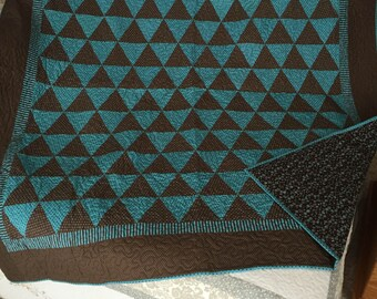 60 degree Brown and Turquoise Triangles, quilt, blanket, brown, turquoise, triangles, handmade, full size, dots