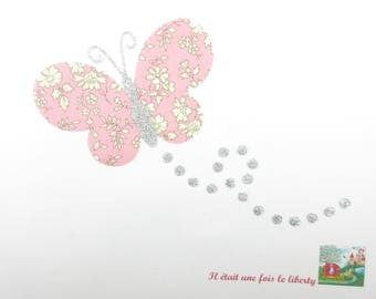 Applied fusible liberty Capel pink butterfly & glitter flex coat butterflies iron fusible pattern liberty iron on patch