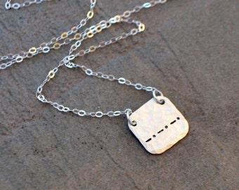 Semicolon Morse Code Necklace in Silver or Gold - Secret Message Necklace - Semi Colon Necklace