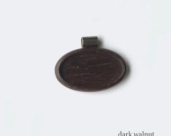 Pendant tray neatly finished hardwood - Walnut - 22 x 40 mm cavity - Brass Tube Bail - (A623c-W)