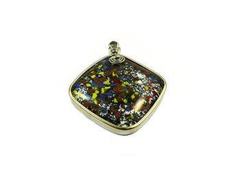 Millefiori pendant and silver sand