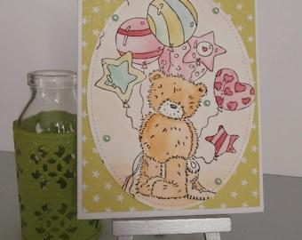 Kids Birthday - Teddy bear with balloons card