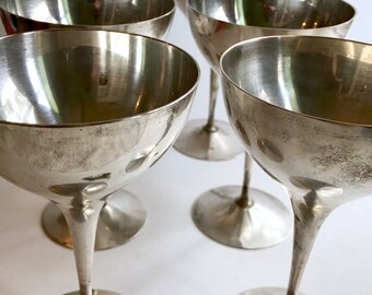 Silver Plated Wine Goblet Set of Six