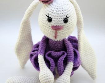 Purple bunny Handmade Bunny Crochet rabbit White Rabbit Baby bunny doll 1st grade Stuffed bunny Rabbit Stuffed rabbit toy Cute bunny plush