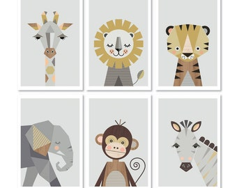 "Safari prints, Series of six, A4 or 8x10"" size. Nursery prints, nursery art, kids art, nursery decor, playroom art, animal prints,art prints"