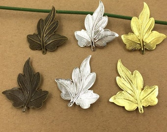 20 Brass Filigree Maple Leaf Component 35x30mm Raw Brass/ Antique Bronze/ Silver Plated Metal Stamping