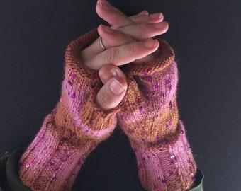 Fingerless Gloves - Hand-Knit Gloves - Women's Fingerless Gloves - Half Gloves  - Pink & Brown - Magenta Sequins - Women's Winter Gloves