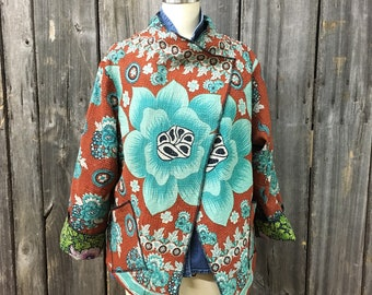 Kantha jacket, long sleeve, cropped reversible and OOAK
