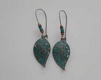 Blue leaf earrings bronze earrings