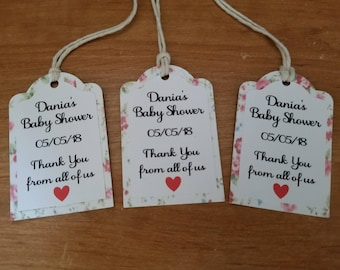 SHABBY CHIC TAGS Favor Tags Thank You Tags Boho Flower pattern