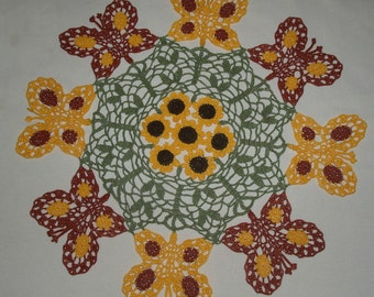 Butterfly- Butterflies and Sunflowers Crochet Doily Pattern