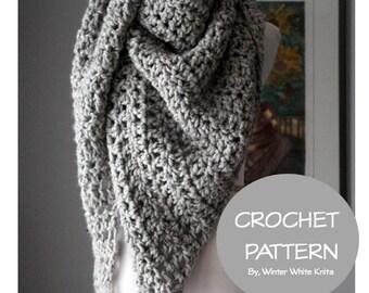 Crochet pattern- crochet triangle scarf pattern, PDF Instant Download Crochet Pattern, DIY crochet pattern, NOT a finished product,