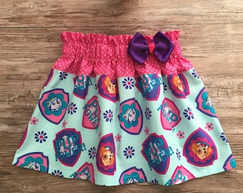 Paw Patrol Skirt, Puppies Skirt, Skye Skirt, Skirt with Paw Pawtrol Puppies