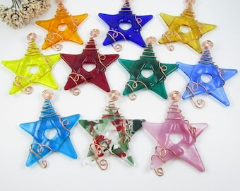 Ten Glass Star Ornaments - Handmade Fused Glass Stars Wrapped with Copper Wire - Glass Star Ornament Suncatcher - Christmas Star