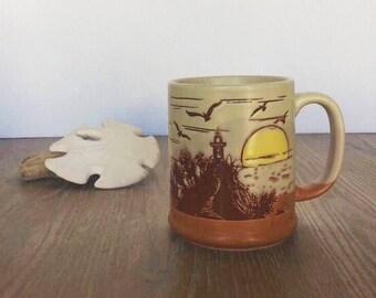 Clay Mug, Pottery Mug, Clay In Mind, Beach Sunset, Handmade Pottery, Hand Thrown, Coffee Mug, Tea Cup, Pottery, Collectible, Retro, 80's
