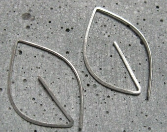 Contemporary silver earrings, geometric leaf,  small simple earrings, minimalist nature jewellery