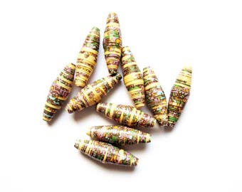 paper beads lot 10 oval 20mm X 77 ethnic Indian pattern