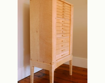 Jewelry Armoire Curly Sugar Maple Cabinet