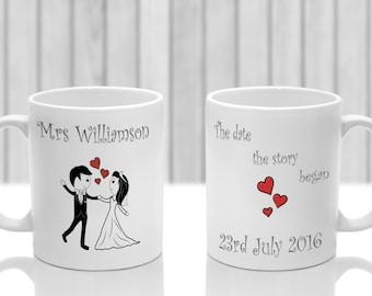 Personalised Mr and Mrs mug x 2. Gift Set Wedding Anniversary Bride Groom Gift