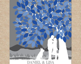Wedding Tree Guestbook // Personalized Skyline & Silhouette Art // Wedding Display // 100+ Signature Guestbook Keepsake // W-T05-1PS HH3