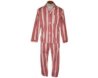 Vintage Striped Pajamas Red White and Grey Stripe Pyjamas Mens Size M