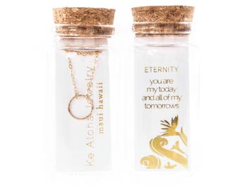 Bottled Eternity Karma Necklace - Anniversary Gift,Wife Gift,Mom Gift,Love Gift,Gold Necklace,Gold Necklace,Bride Gift,Hawaii, Mothers Day