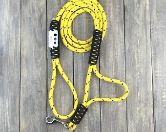 Climbing rope traffic leash with hand stamped pet id tag attached - paracord lashing - made to order