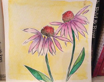 Purple Cone Flowers Over Yellow Watercolor