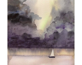 Stormy Weather – Watercolor Print – Instant Download, Clouds Watercolor, Boat Watercolor