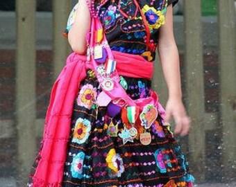 Chiapas Dress/Original Hand Embroidered Folk Dress/Mexican Ethnic Dress,Frida Kalho Dress,Costume Dress,Festival Dress  size 1 to 6
