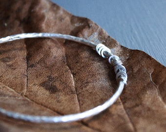 Thick Textured Sterling Silver Scatter Bangle // Silver Charm Bangle // Minimalist Bangle