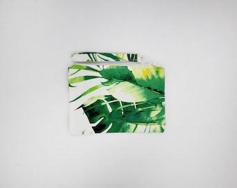 Tropical palm, banana leaf print coin purse