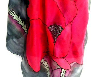 "Poppies Silk Scarf, Hand Painted Silk Scarf, Floral Silk Scarf, Red Black Gray, 35"" Square Silk Scarf, Gift For Her"