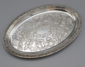 Small Silver Plated Oval Pin Tray Made in England Etched Inner Pattern