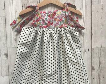Girls Polka Dot Dress - Toddler Summer Dress - Summer Dress for Girls - Spot Dress - Girls Swing Dress - Girls Floral Sundress