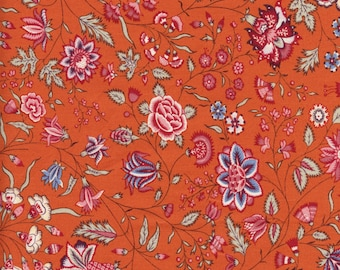 Swatch indienne fabric motif 9 on orange base - 50x55cm