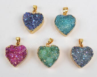 Wholesale Gold Plated Rainbow Natural Titanium AB Agate Druzy Geode Heart Pendant Bead Sparkly Drusy Crystal Gemstone Charm Jewelry G1338