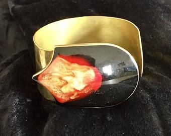 Cuff Bracelet Art Deco brass, enamel and resin - beautiful!