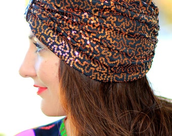 Copper and Black Sequin Turban by Mademoiselle Mermaid