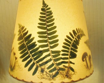 Fern Lampshade, Christmas Fern and Mushroom Lamp Shade, Botanical Lampshade, Tan Washer Top Drum Shade, Green Fern Rustic Lampshade