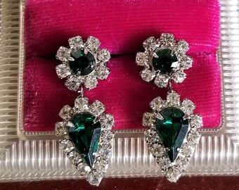 Brilliant Rhinestone Diamond And Emerald Look Pierced Earrings