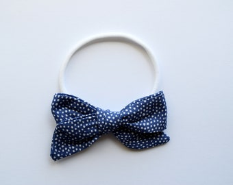Hand Tied Blue Pindot Fabric Bow Clip Picnic Bow Headband Adorable Photo Prop for Newborn Baby Little Girl Child 4th of July Bow Clip