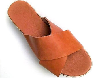 "Leather sandals ""Mia"", Platform sandals, Handmade sandals, platform sandals, Natural color, Flat sandals, Womens sandals, Greek sandals"