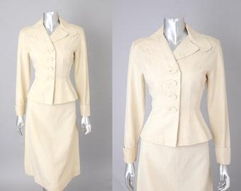 Tea Council cream silk suit |  vintage 1950s  | silk 50s suit