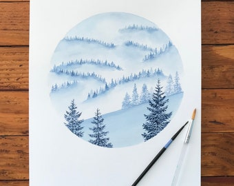 Cool Toned Misty Pines Giclee Print from Original Watercolor Painting