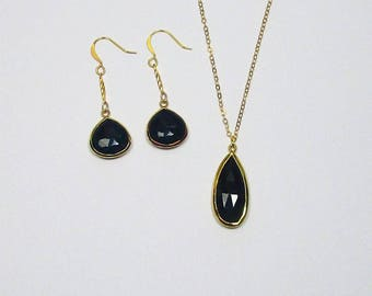 Jewelry Set, Black Onyx Necklace, Black Onyx Earrings, Drop Necklace, Onyx Pendant, Double Sided, Teardrop Beads, Faceted Stone,
