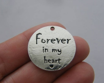 4 Forever in my heart charms antique silver tone M878