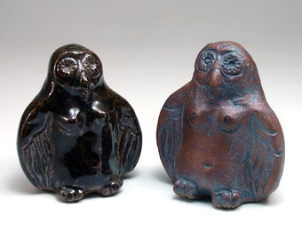 Lillith Owl Goddess Clay Rattle, Sculpted Stoneware Altar Shaker
